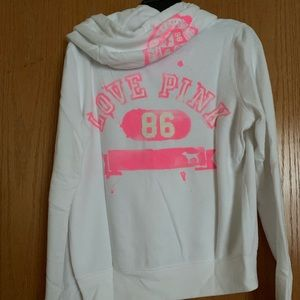 PINK Victoria's Secret Tops - VS PINK white/hot pink hoodie; size Medium